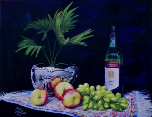 Painting of still life silver, grapes, apples, wine