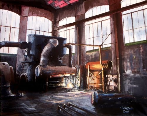 Painting of industrial generator coal mine